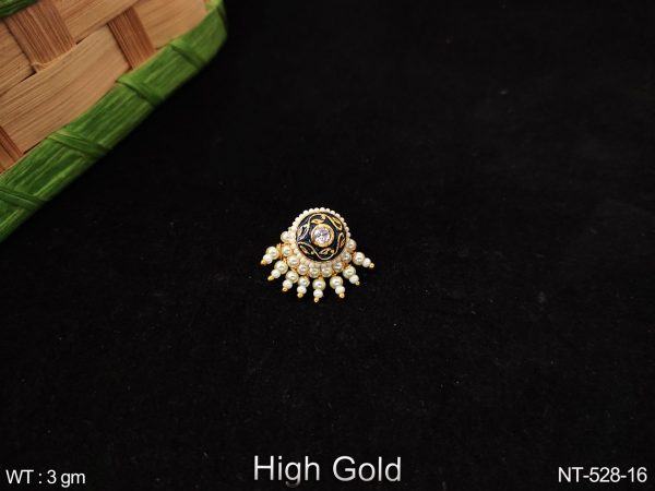 Clustered Pearl Designer Antique High gold polish party wear Nath