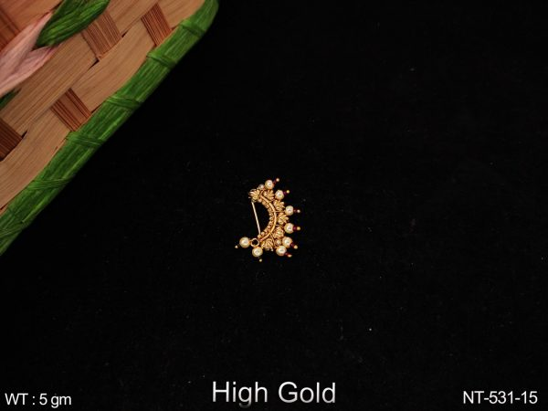 Antique Designer High Gold clustered Pearl Leaf Shape Beautiful party wear Nath
