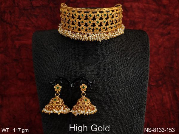 Antique Flowery Designer Beautiful High Gold Clustered Pearl Choker Necklaces Set