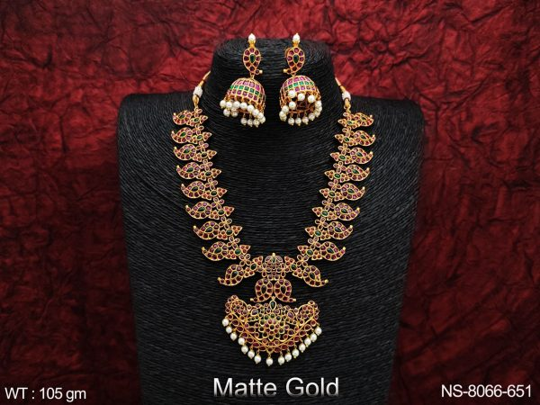 Kemp Jewelry Beautiful Full Stones Matte gold Polish Clustered Pearl Designer Fancy Long Necklace Set