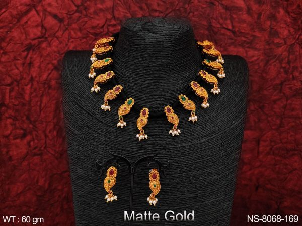 Beautiful Kemp Jewelry Full stones Clustered Pearl Matte Gold Polish Designer Party wear Fancy Necklace set