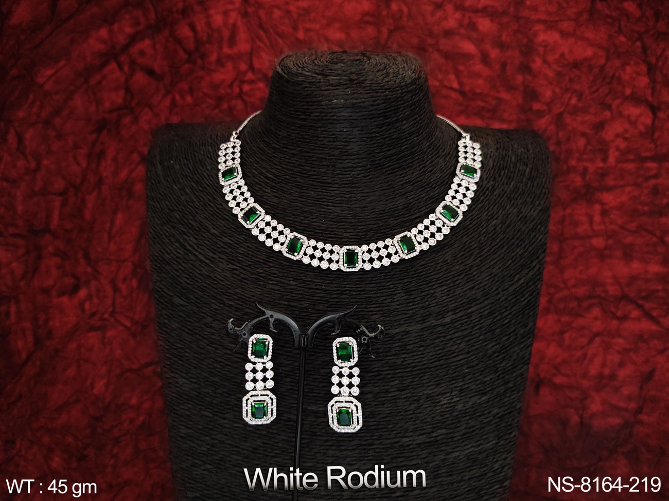 Designer Fancy Style Full Cz / AD Full white stones Party wear Beautiful Choker Style Necklace Set