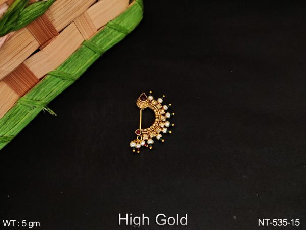 Designer Clustered Pearl fancy Style party wear Square Shape Antique Nath