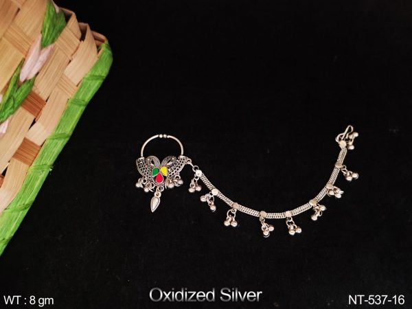 Oxidized Silver Polish Designer Fancy Style Party wear Beautiful Nath / Nose Pin