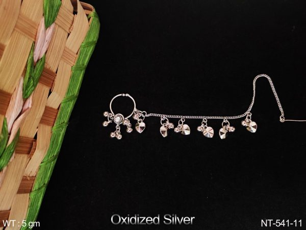 Beautiful Designer Fancy Style Antique Oxidized Silver Polish Party wear Nath / Nose Pin