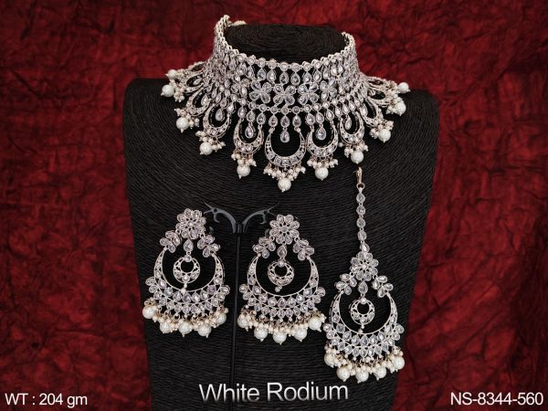 Fancy Style Beautiful Antique Full White Stones Desing Party wear Fancy Style Heavy Choker Necklace Set With Maang Tikka