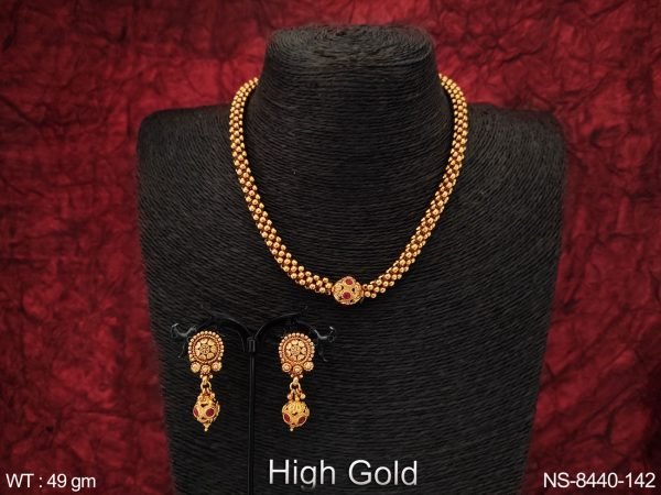 Beautiful Ball Chain High Gold Polish Designer Fancy Style Party wear Necklace Set