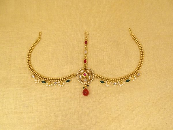 oval rounded beads style party wear maang tikka