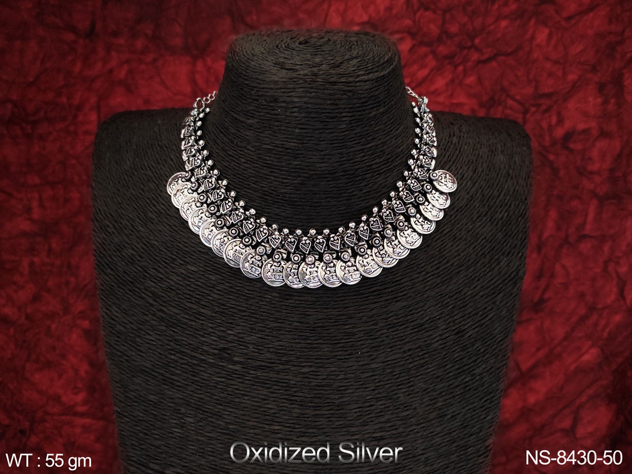 Beautiful Party wear Designer Oxidized Silver Coin Necklace Set