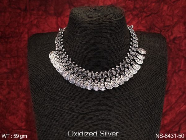 Designer Fancy Style Coin Design Beautiful Party wear Oxiized Silver Necklace Set