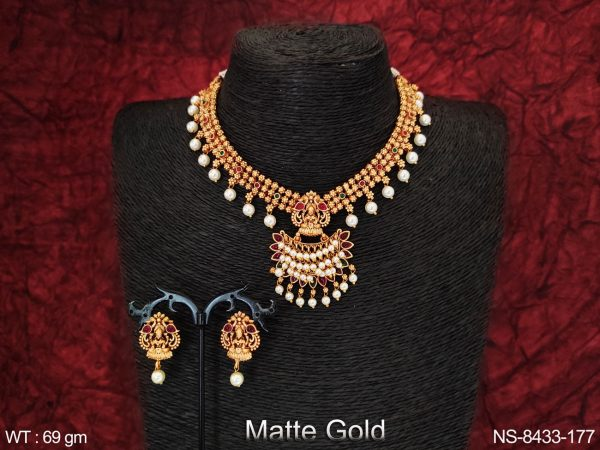Beautiful Laxmi Pendant Clustered Pearl Desinger Party wear Fancy Style Temple Necklace Set