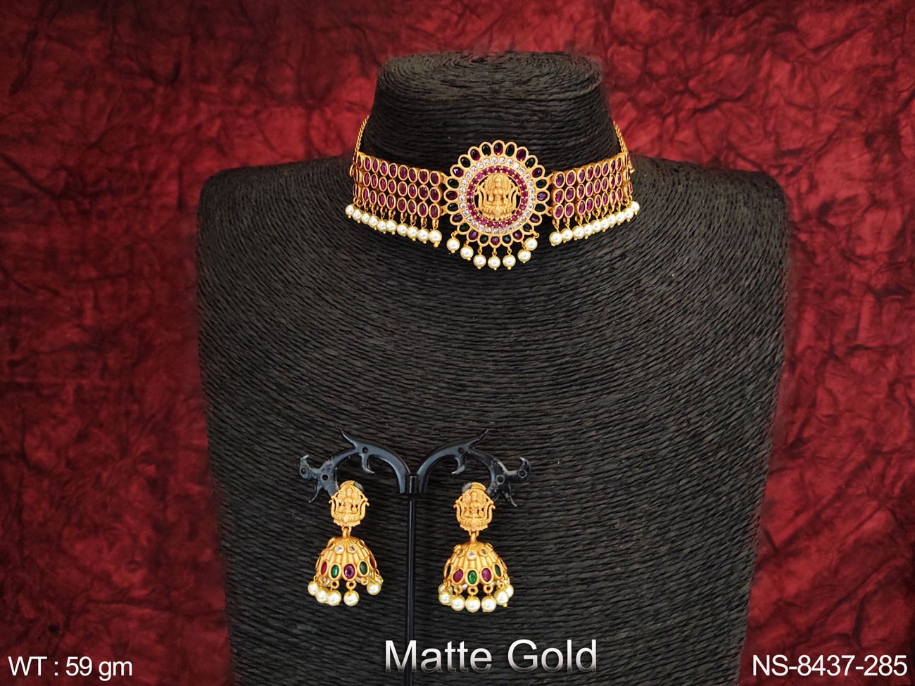 Designer Laxmi Pendant Clustered Pearl Beautiful Party wear Temple Necklace Set