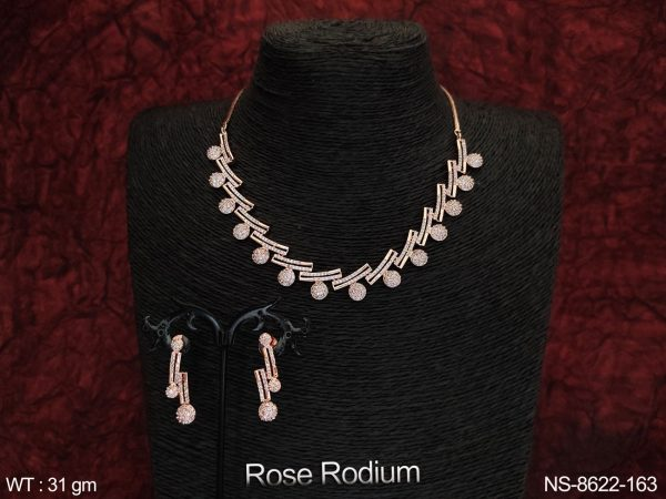 Party wear Cz / Ad Full Stones Beautiful Design Party wear Necklace Set