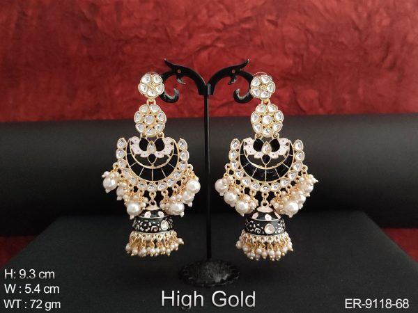 Antique Beautiful Clustered Pearl High gold Polish Party wear Long Jhumka Earring