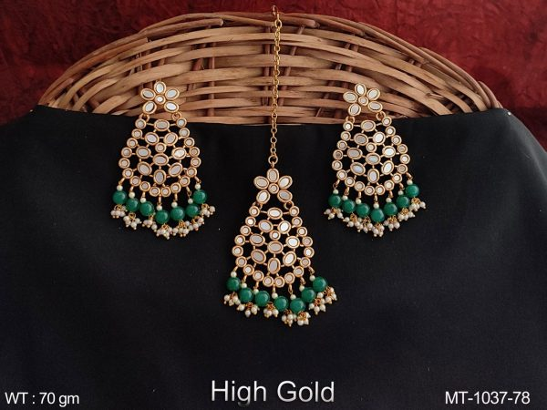 Antique Beautiful Full Stones Party wear Maang Tikka with Earring