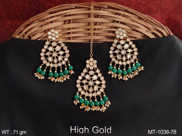Antique Full stones Party wear Designer Maang Tikka with Earring
