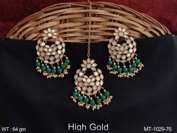 Beautiful Full Antique Stones Party wear Designer Maang tikka with earring
