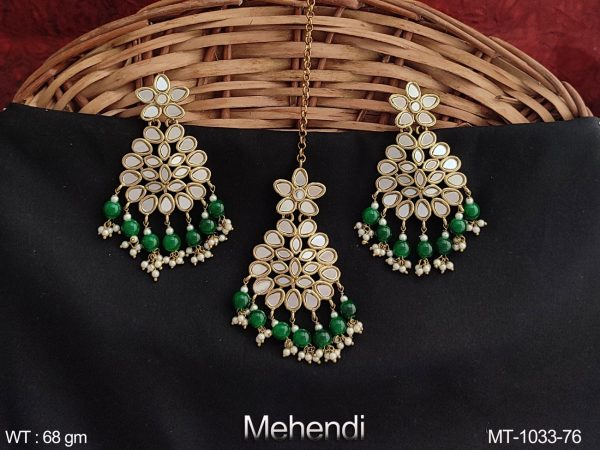 Designer Fancy Style Beautiful Antique Maang Tikka with Earring
