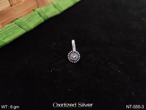 Designer Oxidised Silver Fancy Style Nath / Nose Pin