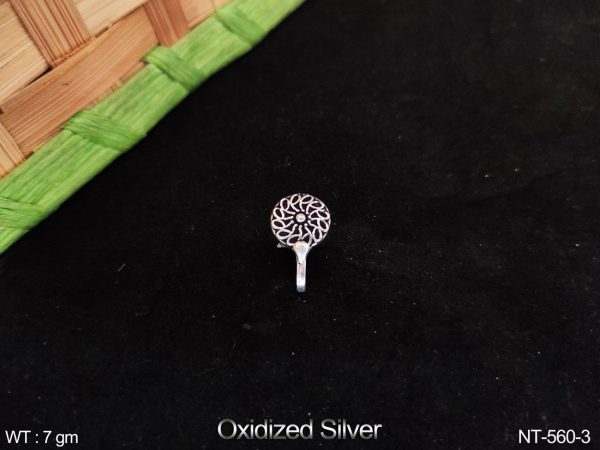 Designer Fancy Style Paty wear Oxidised Silver Nath / Nose pin