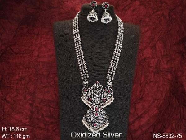 Temple Jewelry Oxidised Silver polish Designer Fancy Style Party wear Long Necklace Set